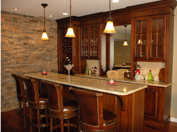 Custom built Maple Bar with granite countertop