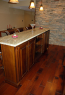Custom Maple Bar with tan marble counter top