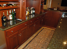 custom Maple Bar cabinets and granite counter top