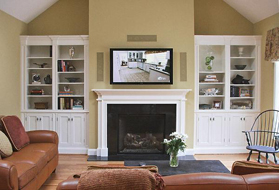 Painted Fireplace with TV