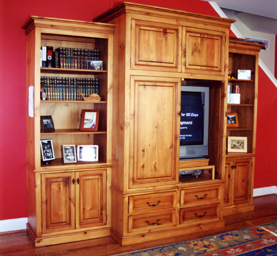 Painting Knotty Pine Cabinets: Built-In TV Cabinets And Entertainment Centers